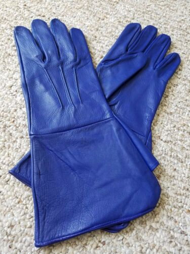 Men's Medieval Renaissance Gauntlet Blue leather Gloves Long Arm Cuff
