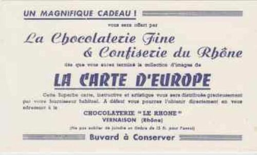 BUVARD 104260 LE RHONE CHOCOLAT EUROPE
