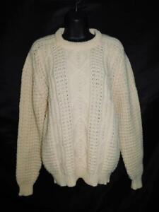 Gaeltarra Ireland XL Ivory White Wool Sweater Irish Fisherman's Cable Knit Crew
