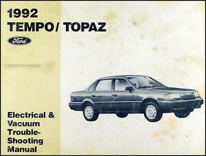 1992 Ford Tempo Mercury Topaz Electrical and Vacuum Troubleshooting Manual  OEM | eBayeBay