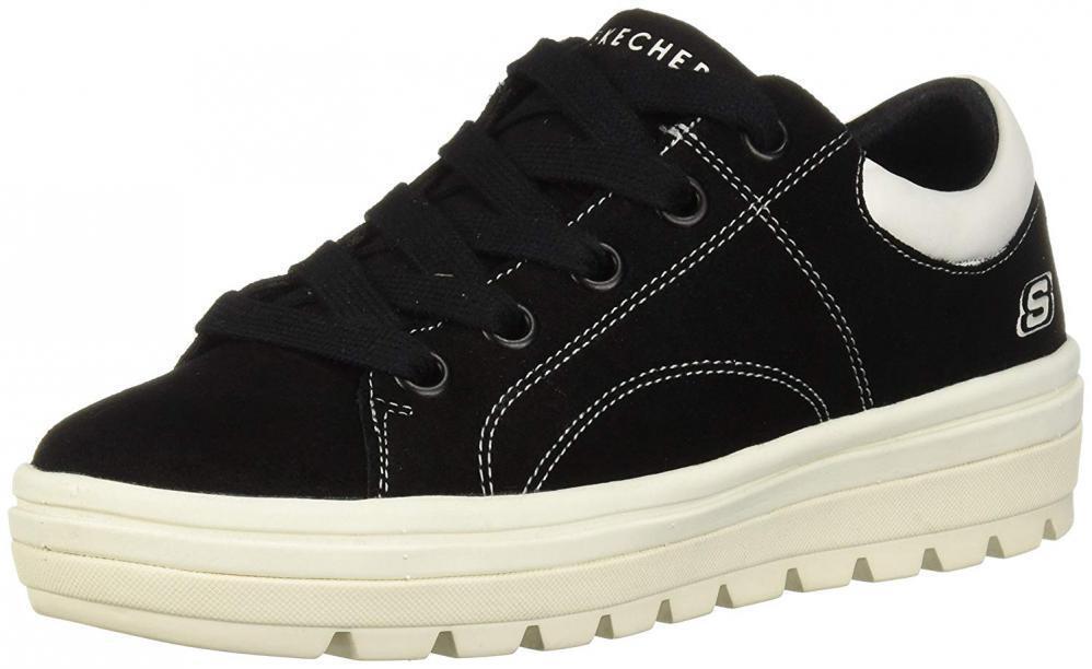 Skechers Women's Street Cleat-Back Again. Contrast Stitch Suede Sneaker