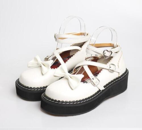 Mary Jane Femme Lolita sweet l2 creepers Cross À Lanières Chaussures compensées nœud