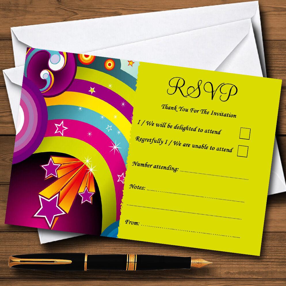 Red Star Rainbow mariage personnalisé mariage Rainbow ou fête RSVP cartes 190a01