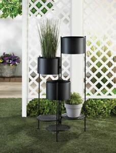 Modern Black 3 Tier Flower Pot Bucket Planter Curio Outdoor