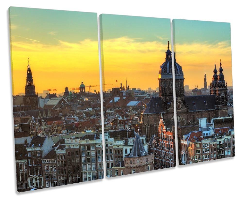 Amsterdam Skyline tramonto QUADRO TREBLE TELA Wall Wall Wall Art Print d13bb4
