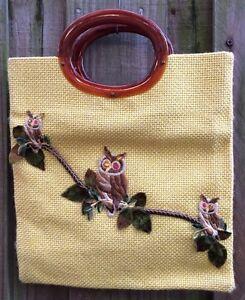 Retro-Vintage-Owls-Purse-Tweed-Yellow-Handbag-Bag-Lucite-Amber-Handles-1970s