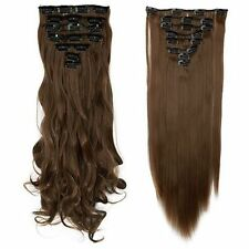 USA 8Pcs Long Curly Straight Full head clip in on hair extensions 30 Colors lts