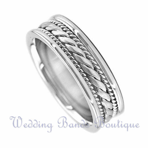 Fabulous Men's Braided Wedding Ring 14k White Gold 7mm | eBay PV53