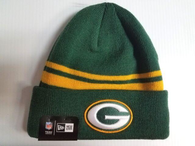 d3b91c3c Green Bay Packers New Era Knit Hat Striped Cuff Beanie Stocking Cap NFL