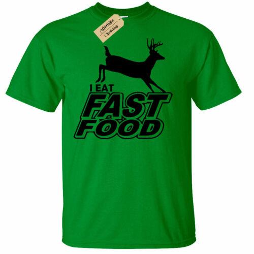 Enfants Garçons Filles I Eat FAST FOOD FUNNY T SHIRT Hunter Deer Tir Chasse