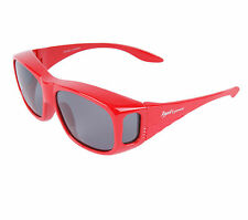 Sunglasses That GO OVER / COVER GLASSES for Driving, Cycling & Sport. Red Frame
