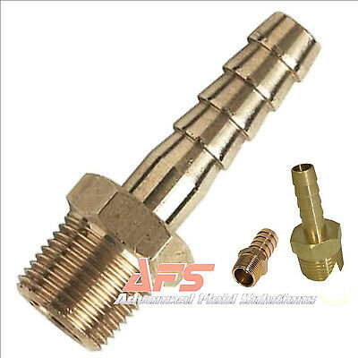BRASS Male BSP Taper > Hose Tail Fitting Silicone Fuel Water Air Gas Pipe BSP UK