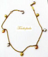 14k Tri Color Gold Anklet Beautiful Link Chain With 7 Puffed Dangling Hearts 10