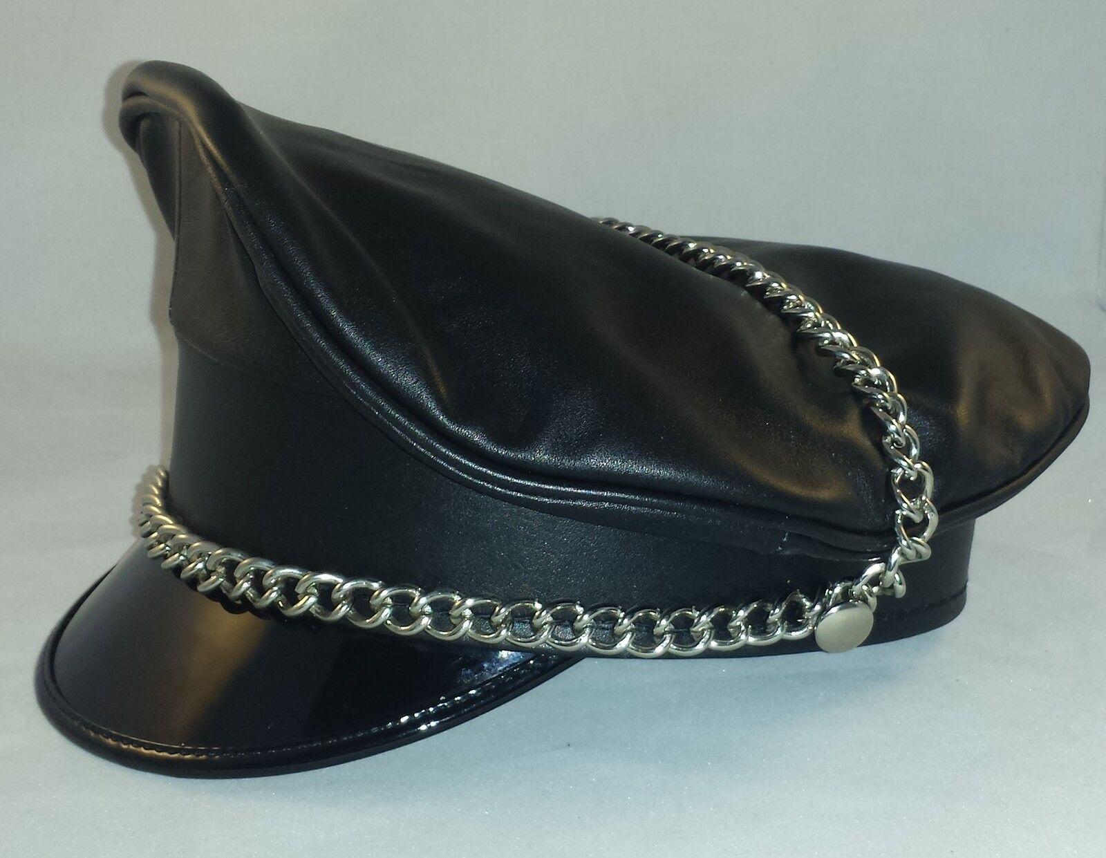 0058 Echt Leder schrimmütze + HEEL + Chain Officer Hat Leather Kape, Leather Hat