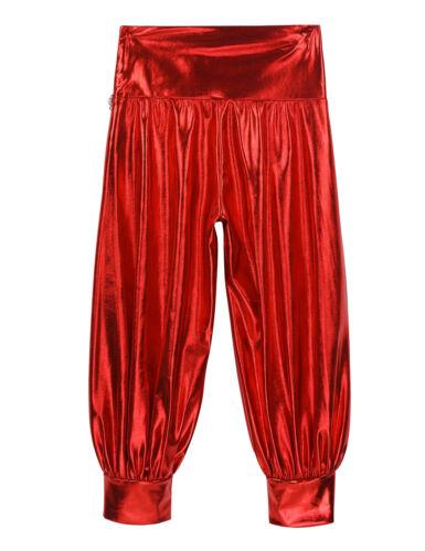 Kids Girls Shiny Metallic High Waist Loose Harem Dance Pants Hip Hop Crop Tops