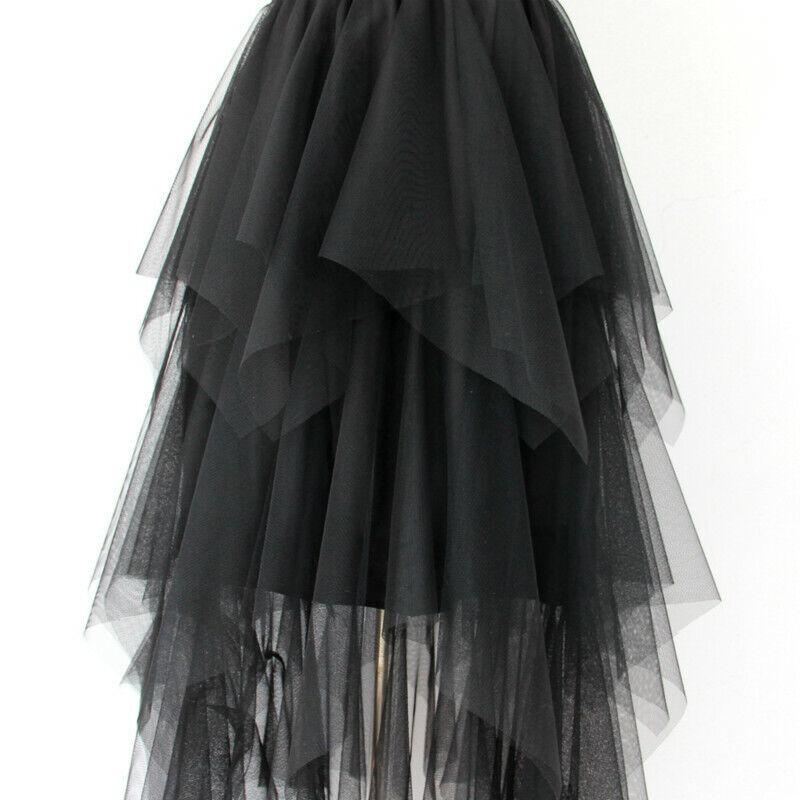 Damen Mehrlagig Netz Tüll Asymmetrisch Bauschig Rock Rüschen Tutu Gaze Midi Goth