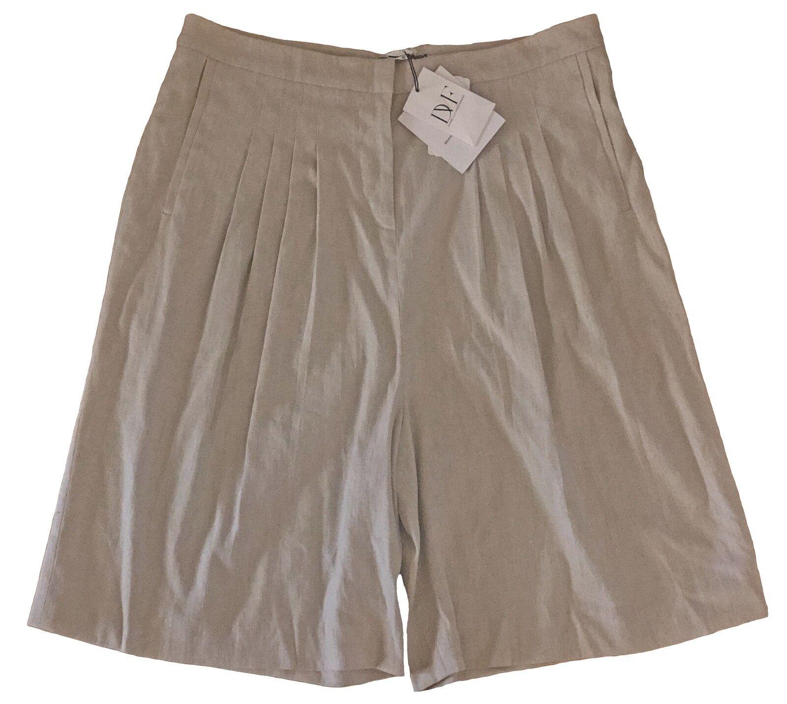245 Diane Von Furstenberg DVF Bramarama Stretch Linen Pleated Bermuda Shorts