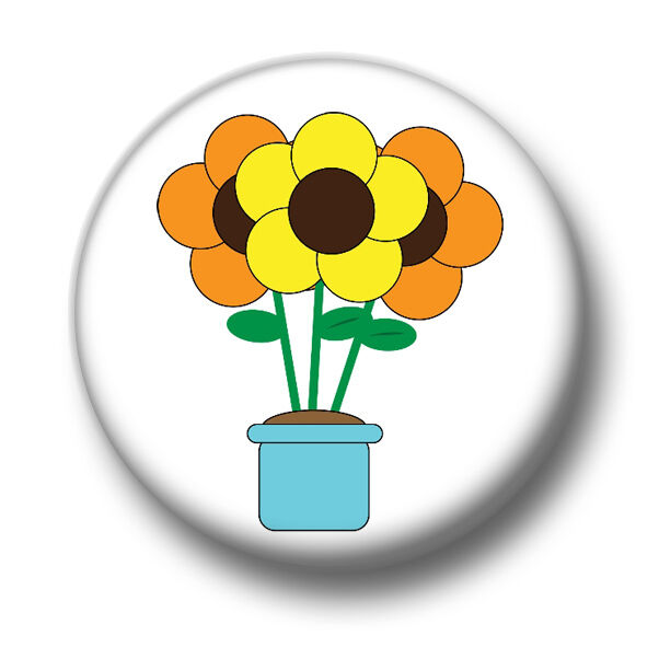 Flowers 1 Inch 25mm Pin Button Badge Pot Vase Cute Nature Plants