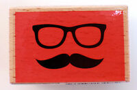 Eye Glass And Mustache Studio Wooden Rubber Stamp