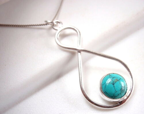 Details about  /Turquoise Infinity Pendant Symbol Expresses Forever Love 925 Sterling Silver