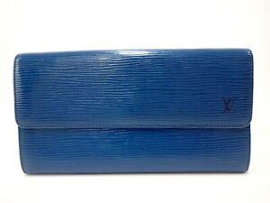 Authentic-LOUIS-VUITTON-Long-Wallet-Epi-Bifold-M30320-Sarah-Blue-Vintage