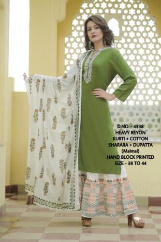 Women indian kurta kurti Dupatta new Dress anarkali bottom tunic bollywood combo