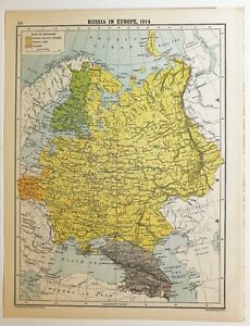 Historical Map Russia In Europe 1914 Finland Poland Caucasia Crimea