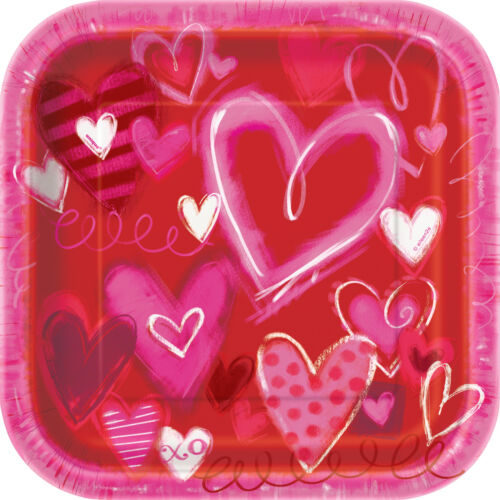 8 Valentines Hearts Square Party Paper Plates 23cm 40th Anniversary Paper Plates