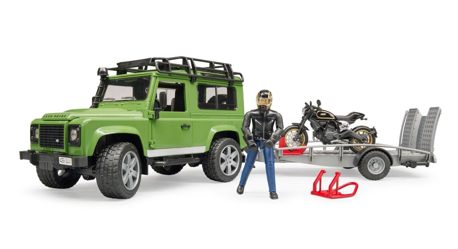 BRUDER® 02598 Land Rover Station Wagon mit Anhänger, Ducati & Fahrer, NEU & OVP