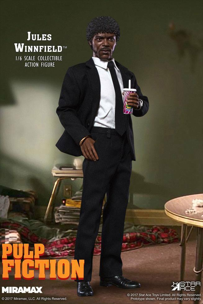 Pulp Fiction Jules Winnfield Actionfigur Star Ace Miramax 1 6 Nuovo (L)