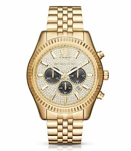 Details zu Neu Michael Kors MK8494 Lexington Chronograph Kristall 44mm für Herren Luxusuhr