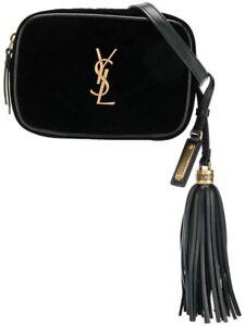 Saint Laurent Ysl Monogram Black Velvet Quilted Lou Camera Belt Bag New Ebay
