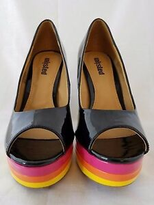 034-Unlisted-034-Black-amp-Rainbow-Patent-Leather-Open-Toe-Platform-Heel-Size-7M
