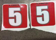 "G4-GRAPHICS 6""X 6"" RED Stick On Number #5 TRX450R LTR450 YFZ450 TRX250R SET OF 2"