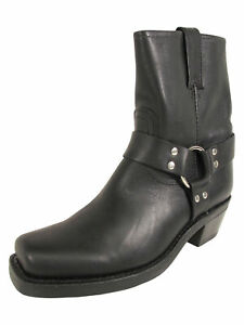 358-Frye-Womens-Harness-039-8R-Pull-On-Square-Toe-Boots-Black-US-6-5