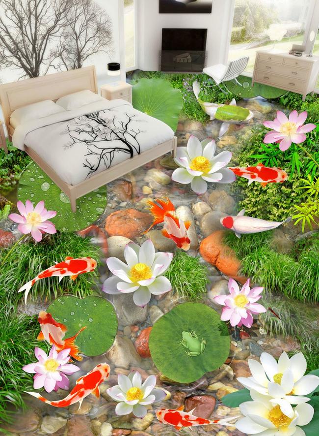 3D Koi Lotus Stone 7543 Floor WallPaper Murals Wall Print Decal AJ WALLPAPER US