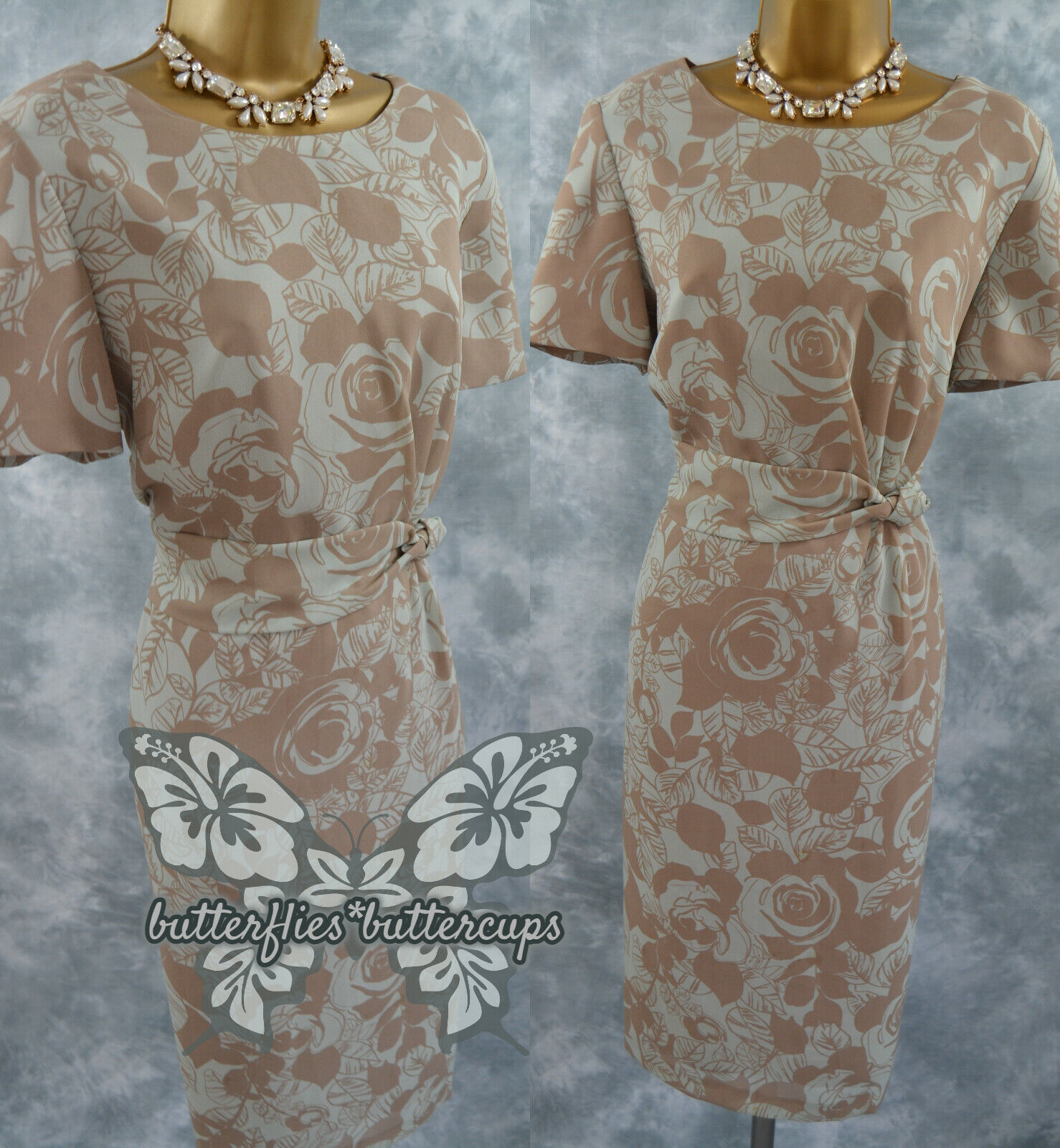 ~ EASTEX ~ Size 16 (14) Taupe Aqua Dress Mother of the Bride Jacques Vert Group