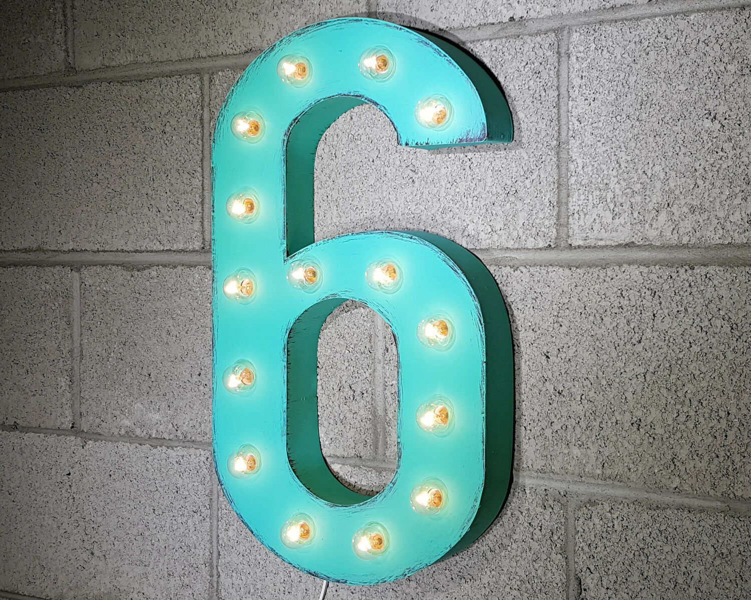 21  NUMBER 6 SIX Plug-In Vintage Style Rustic Metal Marquee Light Up Sign