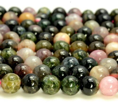 6MM Dark Green Multi Color Tourmaline Gemstone Round 15.5 inch 80007555-A266
