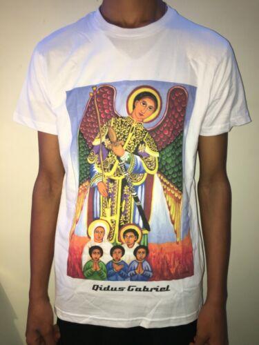 """Ethiopian Orthodox /""""Qidus Gabriel /"""" Icon T-shirts White /""""Size L/"""""""