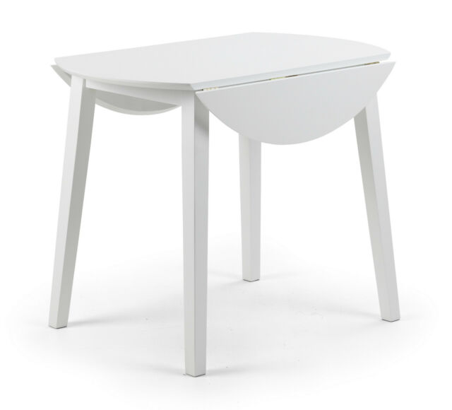 Julian Bowen Coast White Wood Round Kitchen Dining Table Drop Leaf 4