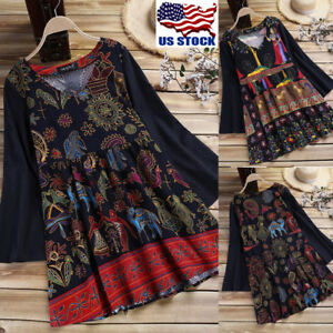 US-Women-039-s-Long-Sleeve-Tops-Casual-Cotton-Ethnic-Shirt-Floral-Print-Tunic-Blouse