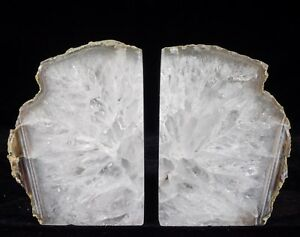 Agate-Bookends-Geode-Crystal-Polished-Quartz-Druzy-Brazil-Specimen