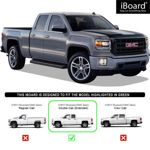 "Premium 6/"" Black iBoard Side Steps Fit 07-18 Silverado//Sierra Double Cab"