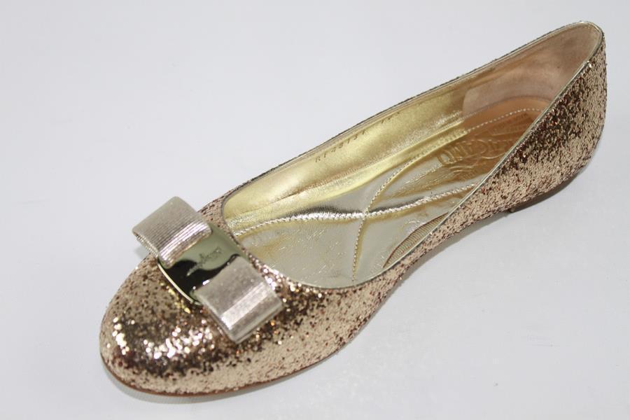 AUTH Salvatore Ferragamo femmes Varina Glitter Ballet Flat chaussures 8B