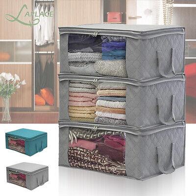 3PCS Large Underbed Clothes Storage Bag Box Quilt Wardrobe Clothing Organizer