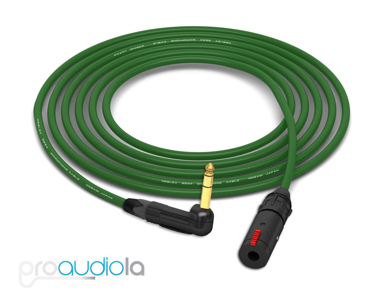 Mogami 2534 Headphone Extension   Neutrik guld 90º TRS to TRS-F   grön 20 Feet