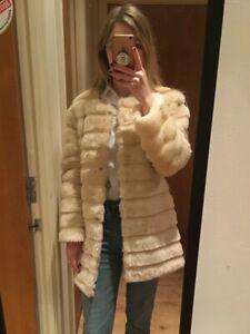 Coat Fur Faux Bnwot Cream 8 Beige Uk 10 Jacket qfqn5S