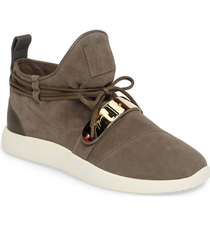 Giuseppe Zanotti Gold Bar Mid-Top Sneaker Gray Suede Men's Shoes Size 41 US