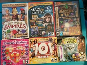 Lot-of-6-PC-CD-ROM-DVD-ROM-Hidden-Object-Collection-Games-Matching-Quests